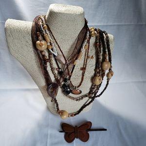 5 Boho Mostly Short Necklaces Neutrals 1 Hair Clip